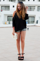 black wholesale shoes - ivory Sheinside bag - charcoal gray H&M shorts