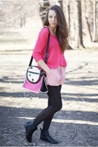 black sholove shoes - hot pink Vero Moda sweater - dark brown OASAP tights