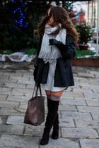 silver Sheinside dress - dark brown Buu boots - gray Light in the box coat