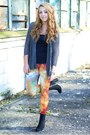 Black-h-m-boots-charcoal-gray-ianywear-sweater-carrot-orange-romwe-leggings