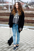 black Sheinside jacket - black Yoins shoes - blue your eyes lie jeans