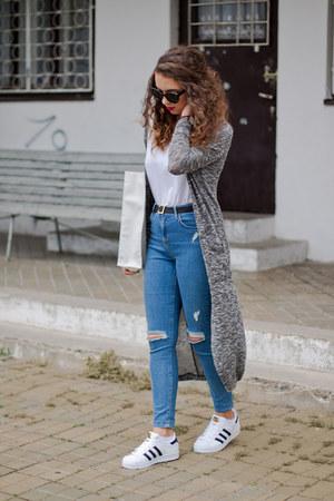 white asos bag - white Zara top - white Adidas sneakers - blue Topshop pants