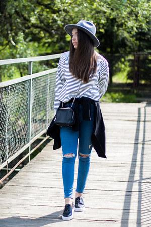 black JollyChic shoes - blue Topshop jeans - black H&M jacket
