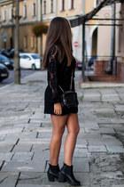 black deezee boots - black zaful dress - heather gray second hand sweater