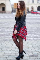 ruby red Yoins skirt - black romwe boots - black Sheinside jacket