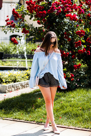 sky blue shein blouse - beige reenee shoes - light pink Kiabi bag