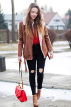 brown Bershka coat - brown Papilion boots - red Sheinside sweater - red H&M bag