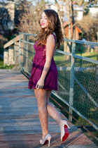 black H&M coat - light pink Wholesale7 shoes - magenta asos dress