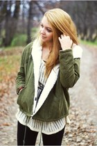 olive green romwe jacket - light brown Swiat butow impreSS boots