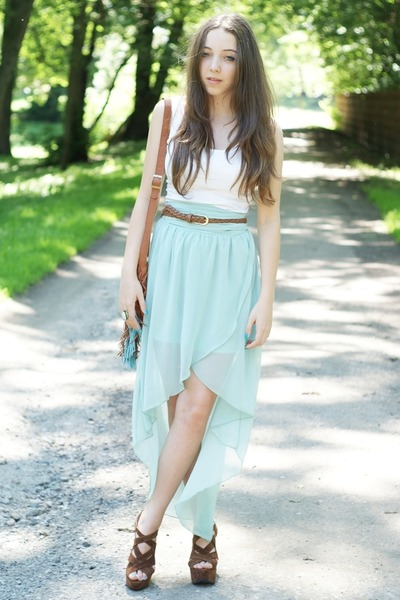 brown Sheinside bag - light blue Sheinside skirt - brown Czas na buty wedges