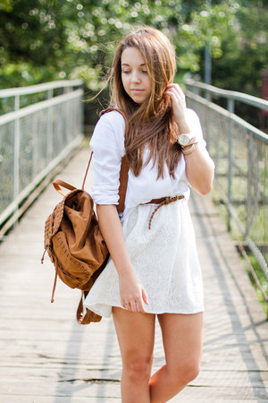 brown Wholesale7 shoes - white VJ Style dress - white Sheinside shirt