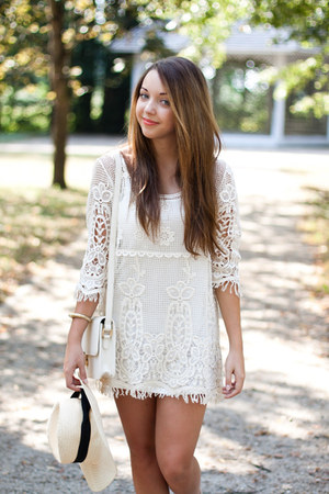 ivory Zara dress - camel Wholesale7 shoes - beige H&M hat - ivory Sheinside bag