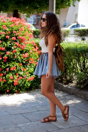 brown wholesale shoes - brown Zara bag - blue blackfive shorts