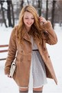 Light-brown-romwe-boots-white-romwe-dress-light-brown-stradivarius-coat