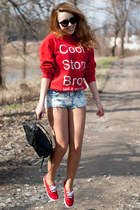 red Magic Box hoodie - red Keds shoes - black Supergalanteria bag