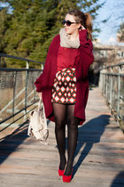 brick red romwe sweater - ruby red H&M shoes - brick red 6ks shirt