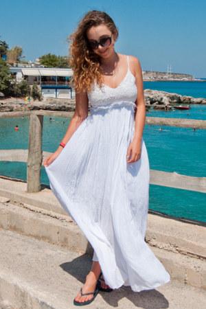white Sheinside dress - blue reserved shoes - black zeroUV sunglasses