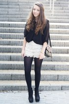 beige OASAP shorts - black VJ Style bag - black SH blouse