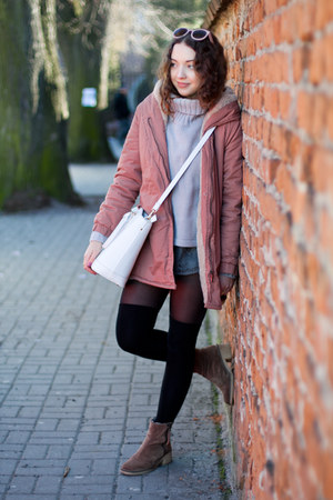 pink Sheinside coat - light brown Zara boots - light purple style moi sweater