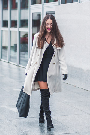 black deezee boots - black Motel Rocks dress - beige Dorothy Perkins coat