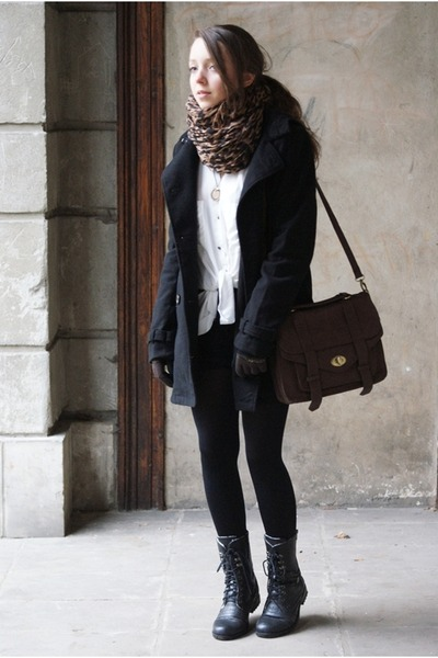 black Papilion boots - black H&M coat - brown gypsy warrior scarf