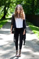 black VJ-style bag - brown H&M shoes - black romwe pants