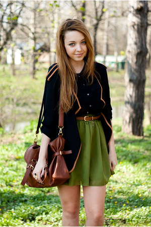 olive green OASAP skirt - brown CzasNaButy shoes - black sophiscat shirt