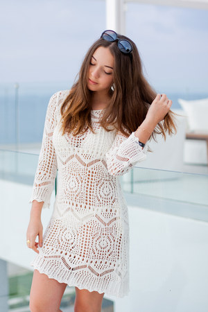 white H&M dress - white pull&bear sandals - white H&M swimwear