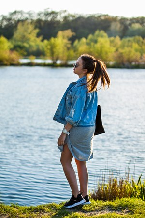 blue the wild flower shop jacket - heather gray Lookbook Store dress