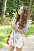 white H&M skirt - beige Czas na buty shoes - light blue Sheinside shirt