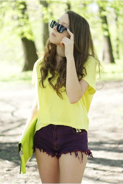 magenta DIY shorts - lime green Alex bags&purses bag - light yellow H&M blouse