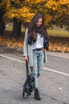 black OASAP scarf - sky blue OASAP jeans - black Chicwish bag