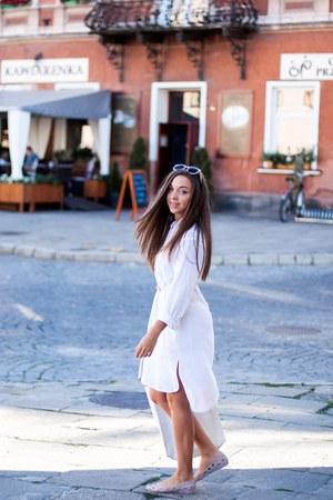 white The Great Beyond dress - white asos bag - light pink Zero UV sunglasses