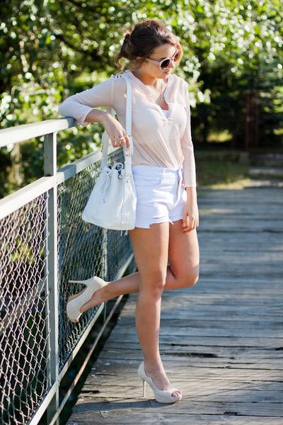 white Chicwish bag - cream Wholesale7 shoes - light pink Choies shirt