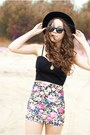 Black-czas-na-buty-shoes-black-oasap-hat-hot-pink-wholesale-skirt