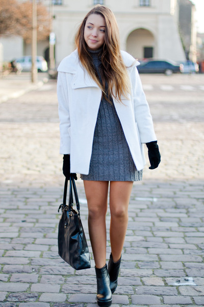 black romwe boots - gray AX Paris dress - white the wild flower shop coat