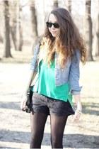 black Zara shorts - black VJ Style bag - turquoise blue romwe top