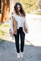 ivory Stradivarius boots - beige Choies bag - camel VJ Style vest - ivory NN top