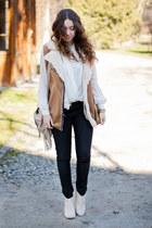 ivory Stradivarius boots - beige Choies bag - camel VJ Style vest - ivory NN top