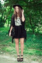 black Wholesale7 shoes - black OASAP hat - black romwe bag