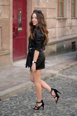 black Just no logo jacket - black Chicwish bag - white Bershka top