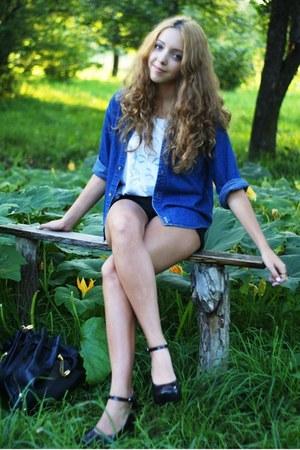 black Mel by Melissa shoes - blue second hand shirt - black Prada bag