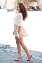 ivory romwe bag - red Elilu shoes - white Sheinside blouse - neutral OASAP skirt