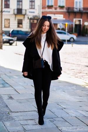 black H&M boots - black Megz coat - beige Mango shirt
