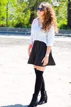 light blue Cubus shirt - black H&M boots - hot pink Choies bag - black H&M socks