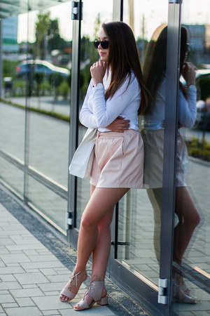 light pink Missguided shorts - white asos bag - light pink Cluse watch