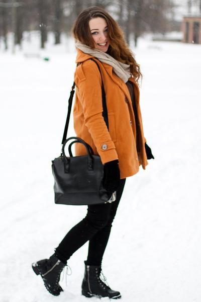 light orange 6ks jacket - black H&M boots - dark brown 6ks sweater