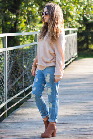 light pink romwe sweater - brown Papilion boots - sky blue TB Dress jeans