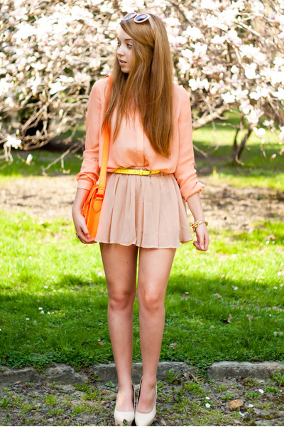peach Livia Clue shirt - beige Papilion shoes - orange Choies bag