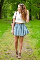 sky blue 6ks skirt - brown Papilion shoes - brown Vero Stilo bag